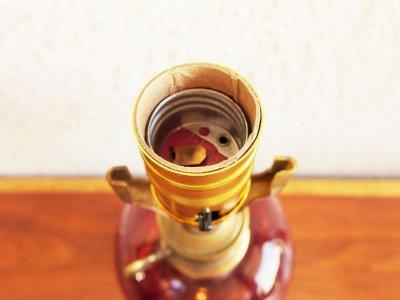 画像2: ビンテージ レッドガラステーブルランプ