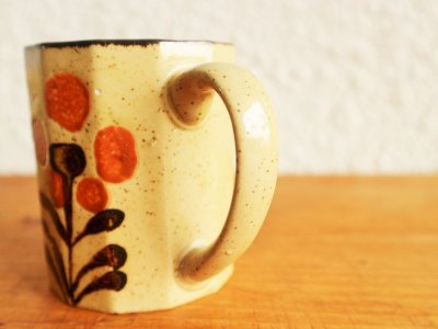 画像1:  ビンテージ 陶器 フラワーマグ