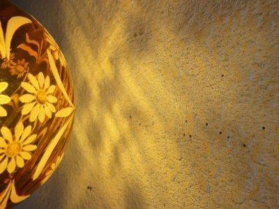 画像3: ビンテージ  アンバーガラスペンダントランプ