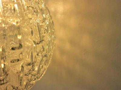 画像2:  ビンテージ 60-70's クリアカッティングガラスペンダントランプ