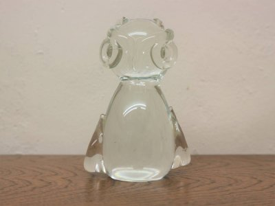 画像1: ビンテージ ガラスフクロウモチーフオブジェ