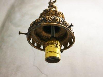 画像3:  ビンテージ クリアカッティングガラスペンダントランプ