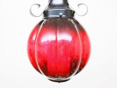 画像1:  ビンテージ レッドガラスペンダントランプ