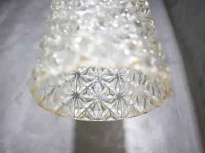 画像1:  ビンテージ クリアカッティングガラスペンダントランプ